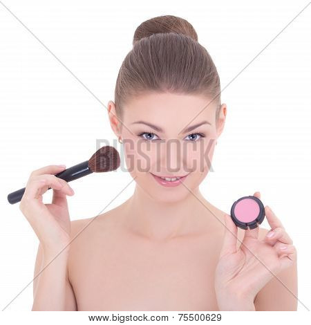 Portrait Of Young Beautiful Woman With Make Up Brush And Rouge Or Powder Isolated On White