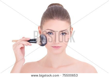 Young Beautiful Woman Applying Rouge Or Powder With Make Up Brush Isolated On White