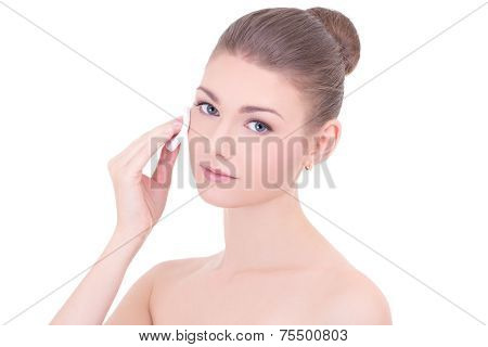 Portrait Of Young Beautiful Woman Cleaning Skin By Cotton Pad Isolated On White