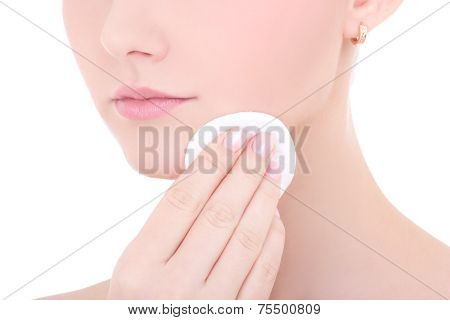 Close Up Portrait Of Young Beautiful Woman Cleaning Skin By Cotton Pad Isolated On White