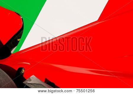 The colors and crest of the national flag of Italy painted on the body work of a race car