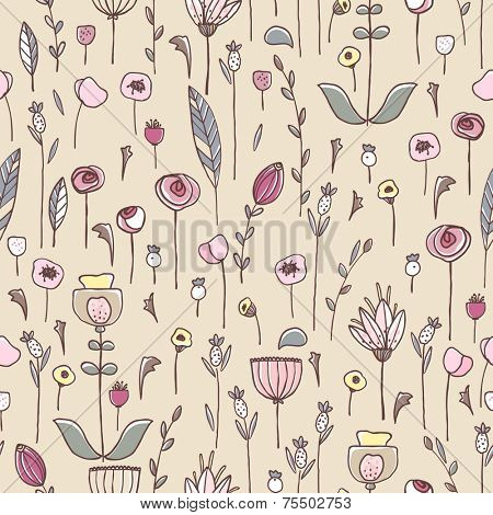 seamless wild flowers pattern