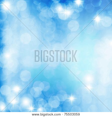 Abstract White Shiny Lights, blue Background