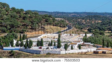 Catholic Cemetery Near Small Town