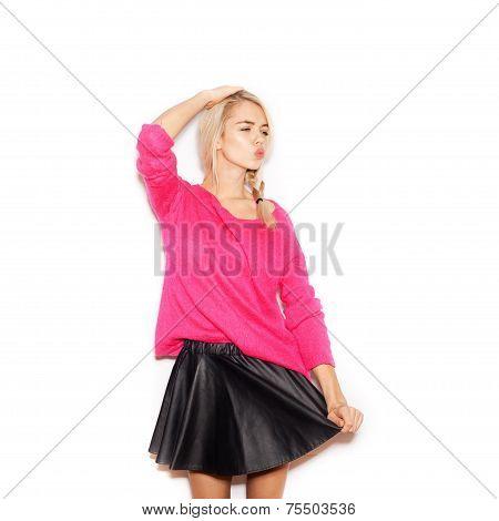Young Woman Winking Sending An Air Kiss