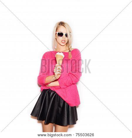 Pretty Blonde Girl  Eating Ice Cream