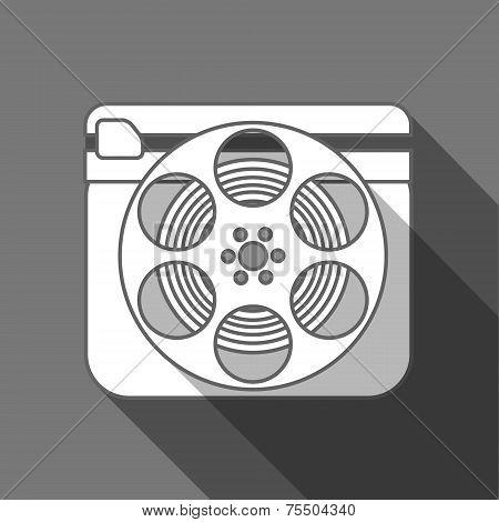 Flat long shadow cinema icon