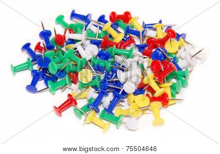 Thumbtacks on white background