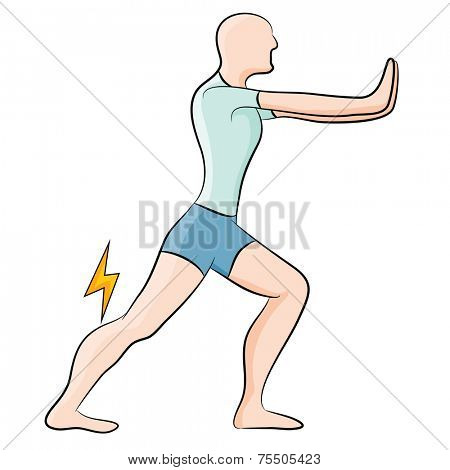 An image of a man stretching his calf muscle.