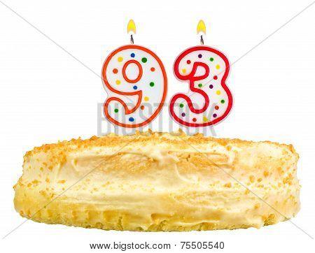 Birthday Cake Candles Number Ninety Three Isolated