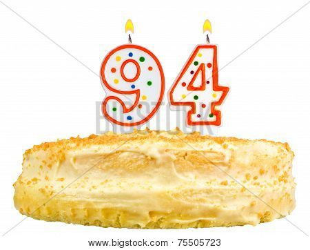 Birthday Cake Candles Number Ninety Four Isolated