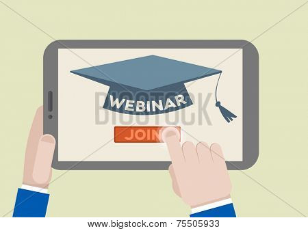 minimalistic illustration of a tablet computer with webinar scholar hat and hand pushing the join button, eps10 vector