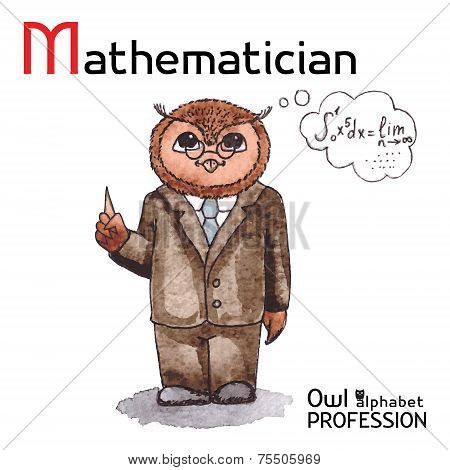 Alphabet professions Owl Letter M - Mathematician Vector Watercolor.