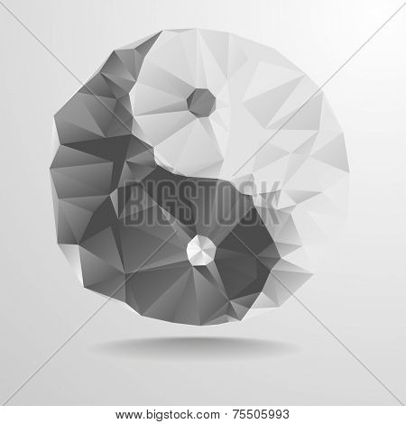detailed illustration of a polygonal yin yang symbol, eps10 vector