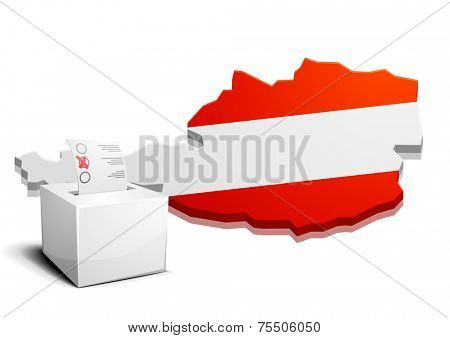 detailed illustration of a ballot box in front of the map of austria, eps10 vector