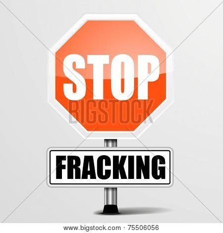 detailed illustration of a red stop Fracking sign, eps10 vector