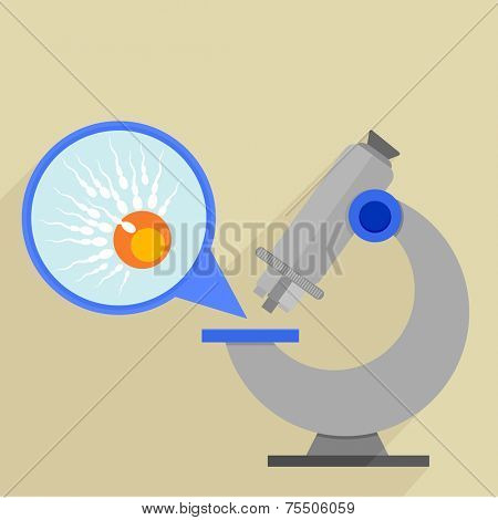 retro flat style illustration of a microscope with detailed view on an egg fertilisation, eps10 vector