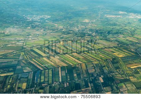 Aerial Shot On A Landscape Of The Outskirts Of Bangkok