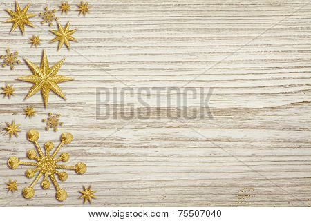 Christmas Wooden Background, Snow Stars Decoration, White Wood Board, Xmas Decorative Holiday