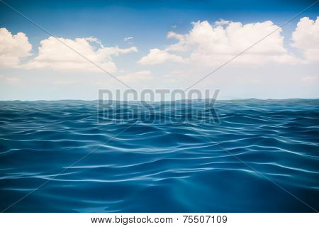 3d render of ocean and beautiful blue sky