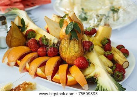 Festive Banquet Table With Fruit