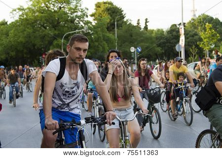7Th World Naked Bike Ride In Thessaloniki, Greece