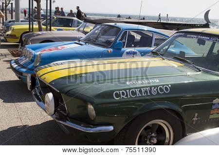 Classic Cars Of The Participants Of The Rally Tour Amical In Their Car. A Classic Car Rally, In Thes