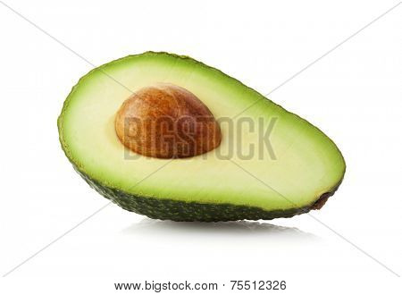 Half Avocado fruit isolated on white with clipping path