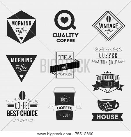 Set of vintage retro coffee Insignias or Logotypes