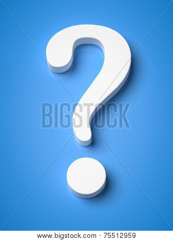 An image of a questionmark on a blue background
