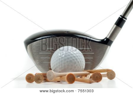 Metal Driver With Golf Ball And Tees