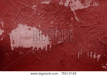 Old Fabric Leather Of Red Color With Attritions