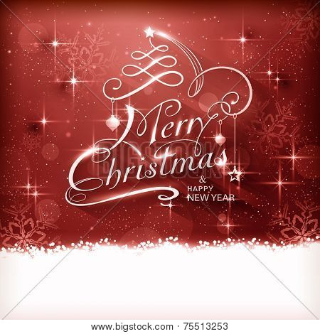 Christmas typography background with shiny light effects, blurry lights, and glittering snowflakes in shades of red and the wording Merry Christmas and Happy New Year.