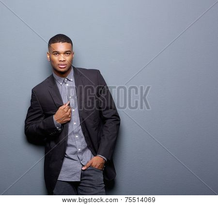 Cool African American Man With Black Business Jacket