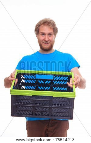 Men Holding Empty Container Box On White Background