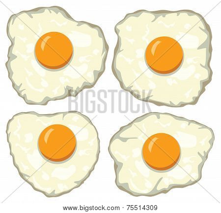Vectorset Of Delicious Fried Eggs For Breakfast