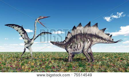 Quetzalcoatlus and Stegosaurus