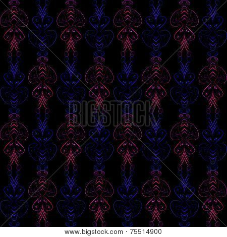 Black Abstract Pattern With Neon Doodle