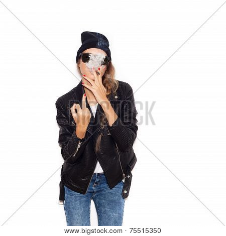 Hipster Girl Showing Middle Finger Over White