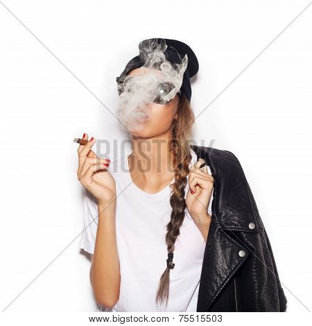 Young Girl In Sunglasses And Black Leather Jacket Smoking Cigar