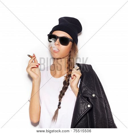 Hipster Girl In Sunglasses With Black Leather Jacket Smoke Tobacco
