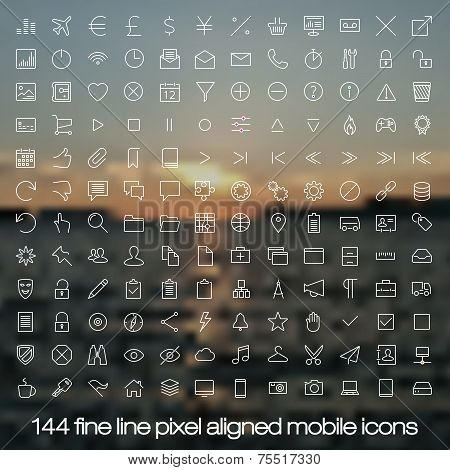 144 cutting edge modern icons for mobile interface on blurred background. Fine line pixel aligned mo