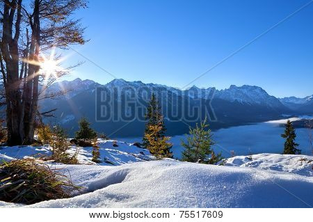 Sunrise Over Winter Alps