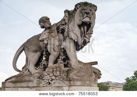Sculpture Located On The Alexander Iii Bridge In Paris, France