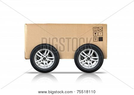 Cardboard Box With Standard Signs And Wheels Isolated On White