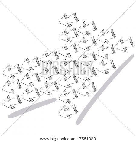 3D big arrow sketchy design vector illustration