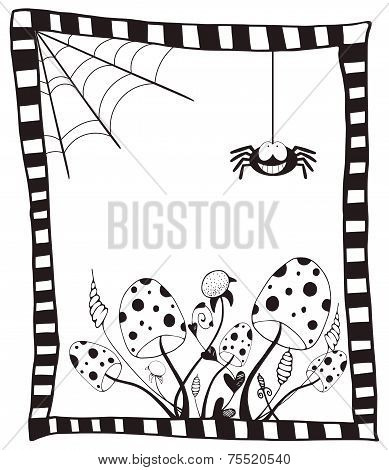 Happy Halloween Card With Wild Mushrooms, Web And Spider