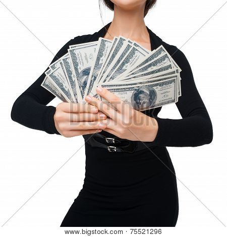 Close-up of woman with soft money