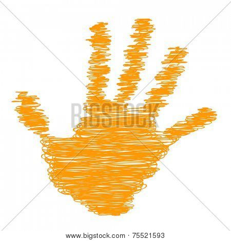 Conceptual orange painted drawing hand shape print or scribble isolated on white paper background