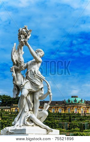 Woman sculpture in Castle Park Sanssouci in Potsdam, Germany